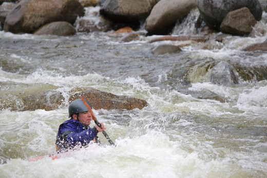 Stock Photo: 1809-16710 Kayaking along the East Branch of the Pemigewasset River in the White Mountains, New Hampshire USA