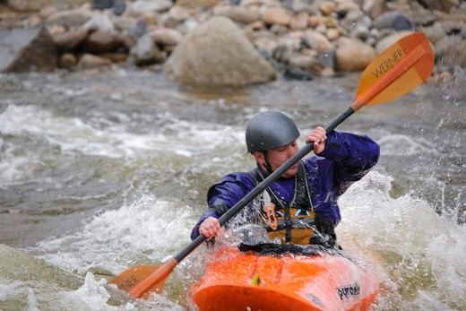 Stock Photo: 1809-16715 Kayaking along the East Branch of the Pemigewasset River in the White Mountains, New Hampshire USA