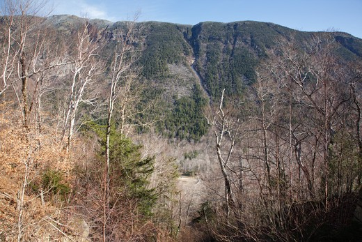 Scenic view from railroad in Crawford Notch State Park of the White Mountains, New Hampshire USA. First known as the Portland & Ogdensburg Railroad chartered in 1867 then sold to the Maine Central Railroad. Since 1995 the Conway Scenic Railroad, which provides passenger excursion trains through the notch has been using the tracks. The cliffs of Mount Webster in the background : Stock Photo