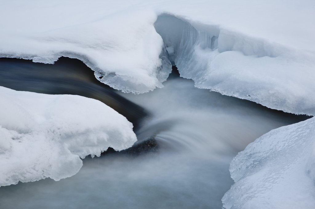 East Branch of the Pemigewasset River in Lincoln, New Hampshire USA during the winter months : Stock Photo