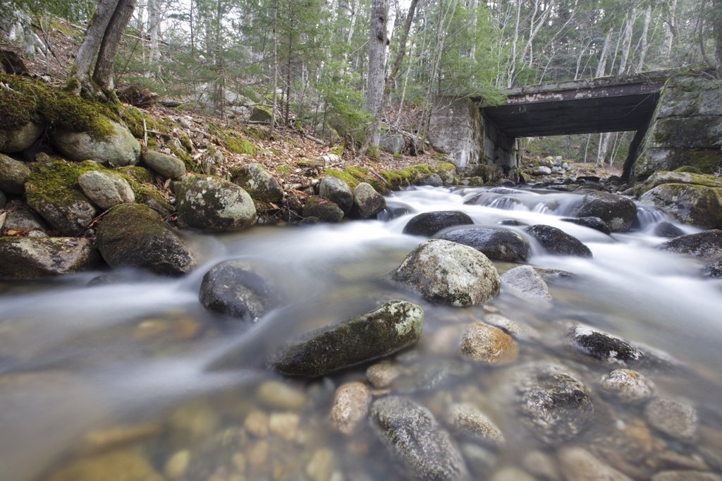 Stock Photo: 1809-17379 Old bridge, which crosses Skookumchuck Brook along the Notchway Trail. The Notchway Trail is the main trail of the Lafayette Ski Trails and follows the old Route 3 between Route 141 and Route 18 in the town of Franconia, New Hampshire