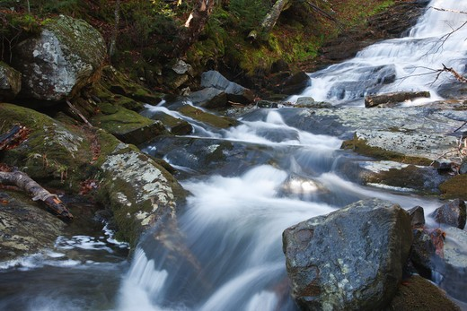 Beaver Brook Cascades which is located along Beaver Brook in Woodstock, New Hampshire.  These cascades are located along the Appalachian Trail : Stock Photo