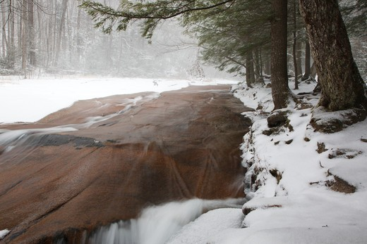 Stock Photo: 1809-7845 Franconia Notch State Park - Flume Brook in the Flume Gorge Scenic Area in Lincoln, New Hampshire USA during a snow storm.  Blowing snow can be seen