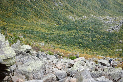 Stock Photo: 1809-8037 Hikers ascending King Ravine Trail. Located in King Ravine in the White Mountains, New Hampshire USA
