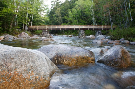 Foot bridge along the Lincoln Woods Trail which crosses Franconia Brook. At the end of this bridge hikers enter into the Pemigewasset Wilderness. Old abutments from Trestle 7 which was once part of the East Branch & Lincoln Logging Railroad are used to support the foot bridge. Located in Lincoln, New Hampshire USA. : Stock Photo