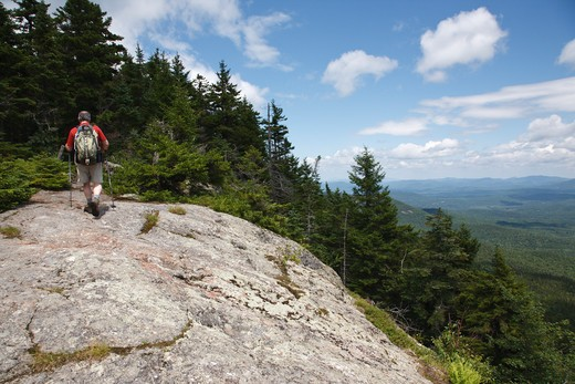Caribou - Speckled Mountain Wilderness - A hiker ascends Mud Brook Trail in the White Mountain National Forest of Maine. Mud Brook Trail travels to the summit of Caribou Mountain : Stock Photo