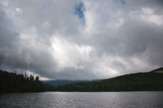 Franconia Notch State Park - Lonesome Lake in the White Mountains, New Hampshire USA. This lake is located long the Appalachian Trail : Stock Photo