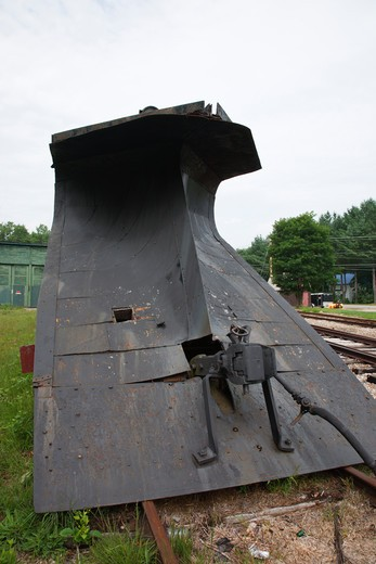 The Russell snow plow #68 at Bartlett Roundhouse in Bartlett, New Hampshire USA along the Maine Central Railroad. This plow was built in 1923 for the Portland Terminal Railroad Company, a subsidiary of the Maine Central Railroad and operated mostly in Maine. In 1975 the Conway Scenic Railroad purchased it. : Stock Photo