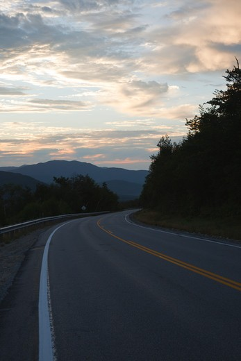 Stock Photo: 1809-9564 Sunrise along the Kancamagus Highway (route 112), which is one of New England's scenic byways located in the White Mountains, New Hampshire USA