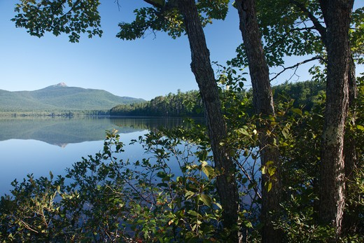 Reflection of Mount Chocorua in Chocorua Lake in Tamworth, New Hampshire USA : Stock Photo