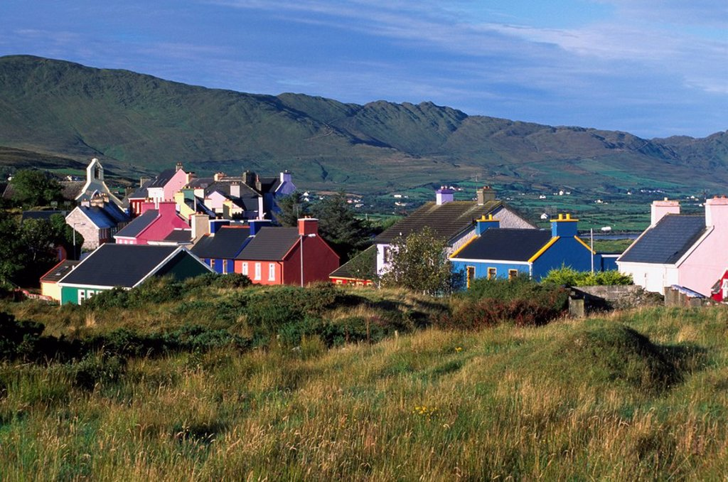 Eyeries Village, County Cork, Ireland, Rooftops of Irish village : Stock Photo