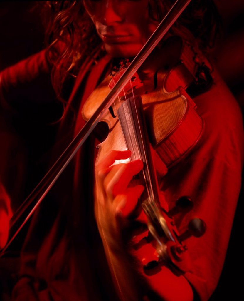 Stock Photo: 1812-10154 Belfast, Co Antrim, Northern Ireland, Portrait of a young violinist
