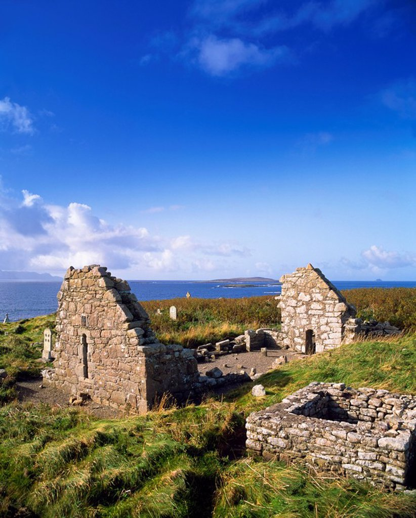 Celtic Archaeology, St. Dervilas Church, Mullet Peninsula Co Mayo, : Stock Photo