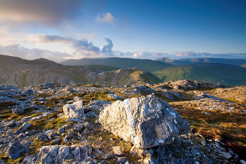 Maumturks, Co Galway, Ireland, Looking north from the summit of Knocknahillion : Stock Photo