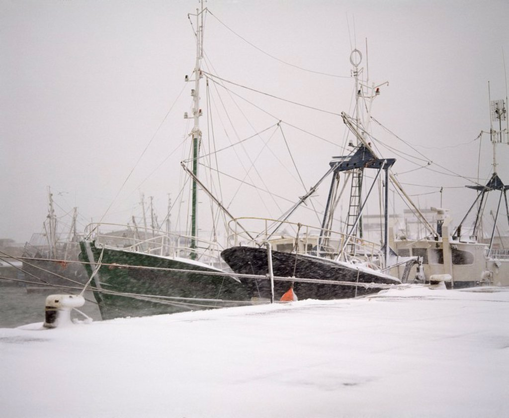 Stock Photo: 1812-10826 Irish Snow Scenes, Howth Harbour, Co Dublin,