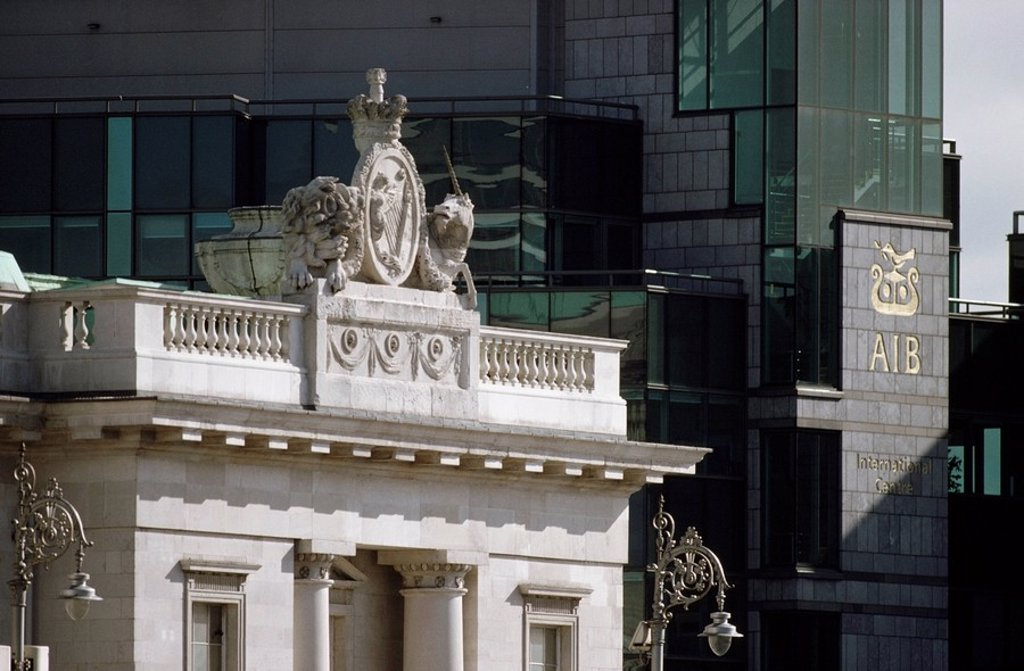 Stock Photo: 1812-10835 Dublin, Financial Services Centre, Detail Customs House,