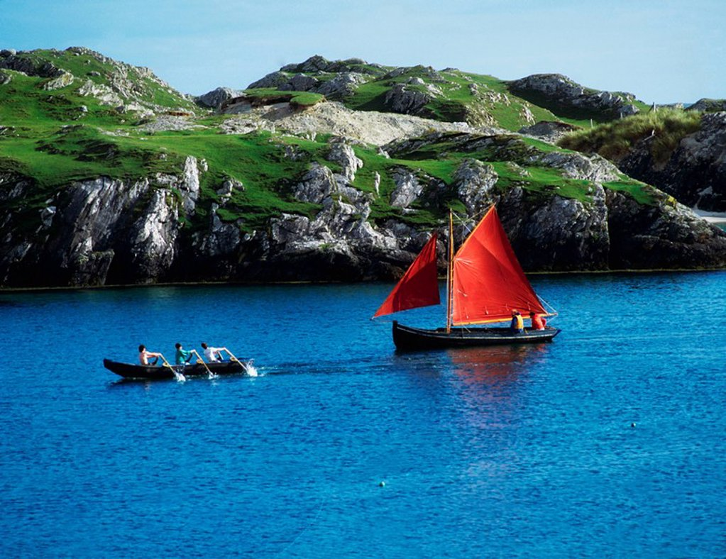 Traditional Galway Hooker And Currach, Inishbofin, Co. Galway, Ireland : Stock Photo