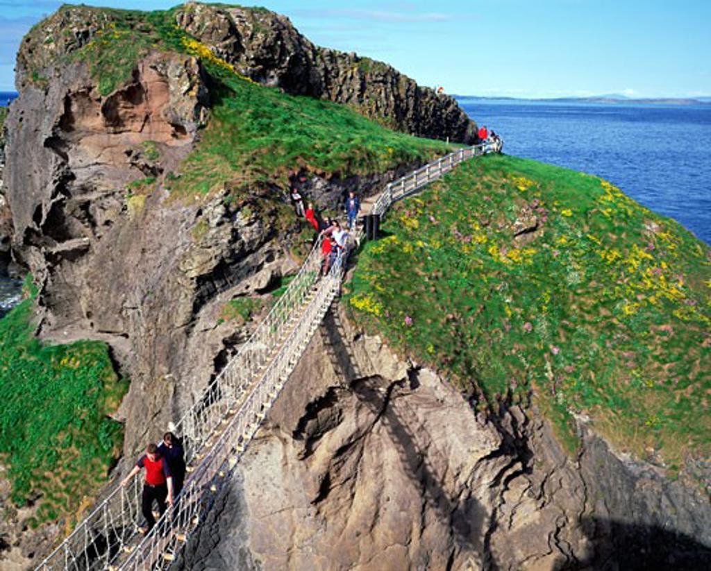 Stock Photo: 1812-1148 Carrick-a-Rede Rope Bridge, Co. Antrim, Ireland