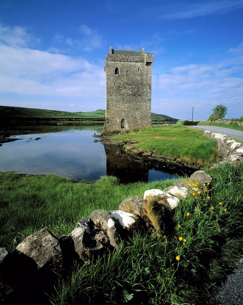 Stock Photo: 1812-11588 Castle Near A Bay, Clew Bay, County Mayo, Republic Of Ireland