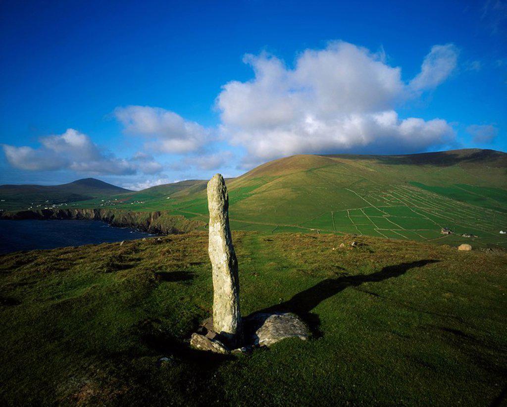 Ogham Stone, Dunmore Head, Dingle Peninsula, Co Kerry, Ireland : Stock Photo