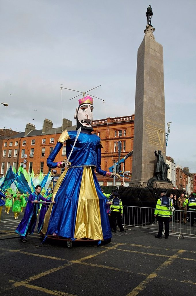 Stock Photo: 1812-11787 Dublin, Ireland, A Tall Marionette In A Parade