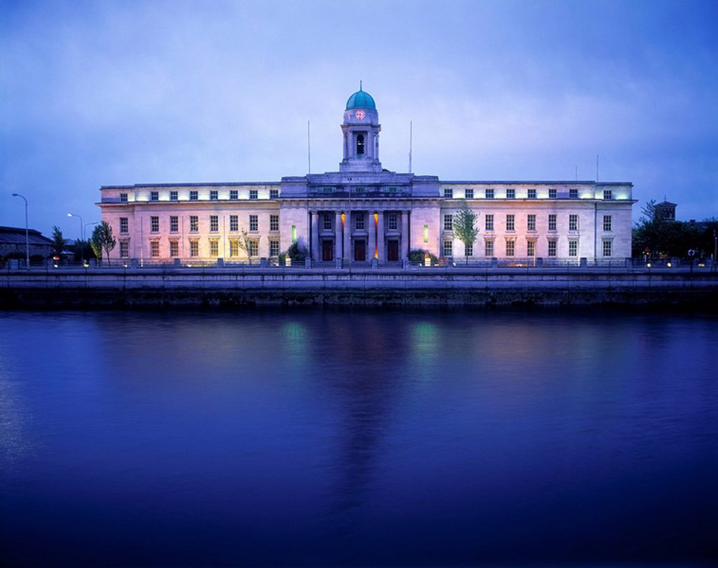 Facade Of A City Hall Along A River, Lee River, Cork, Republic Of Ireland : Stock Photo