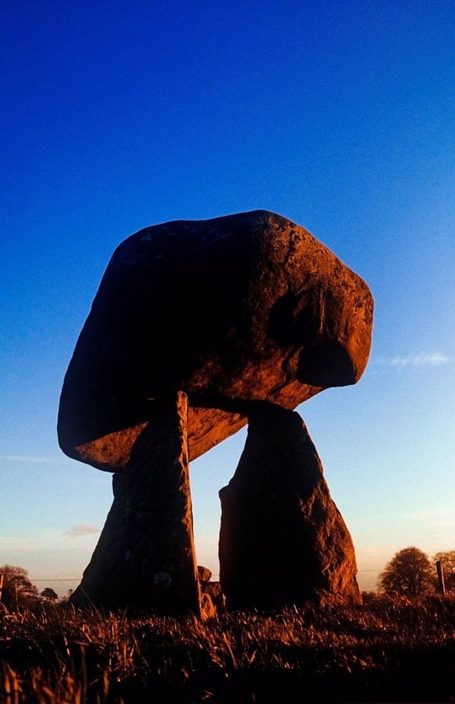 Stock Photo: 1812-11999 Low Angle View Of Proleek Dolmen, County Louth, Republic Of Ireland