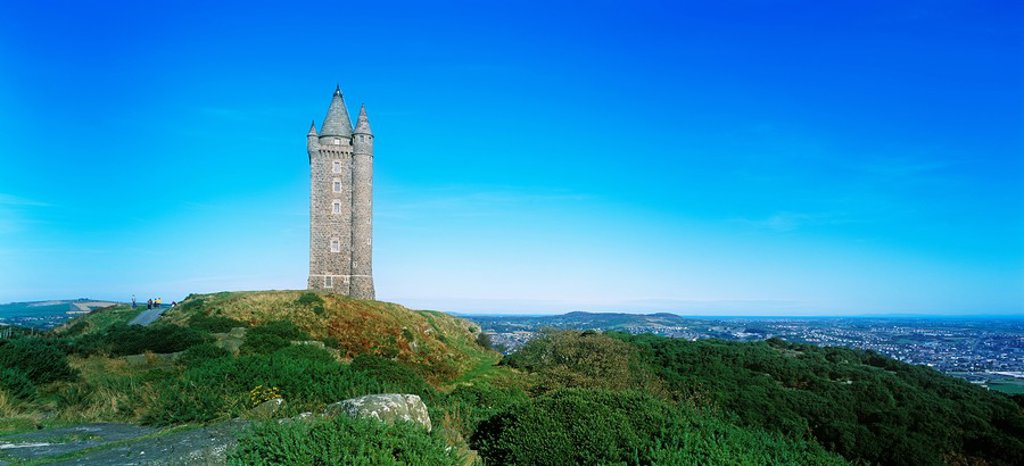 Low Angle View Of A Tower, Scrabo Tower, Newtownards, County Down, Northern Ireland : Stock Photo