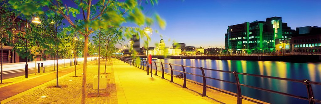 Stock Photo: 1812-12159 Customs House & Ifsc, River Liffey, Dublin, Ireland