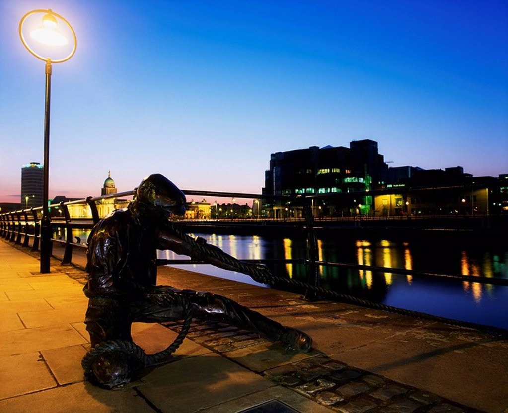 Dublin Sculpture, The Docker, City Quay, Dublin, Ireland : Stock Photo
