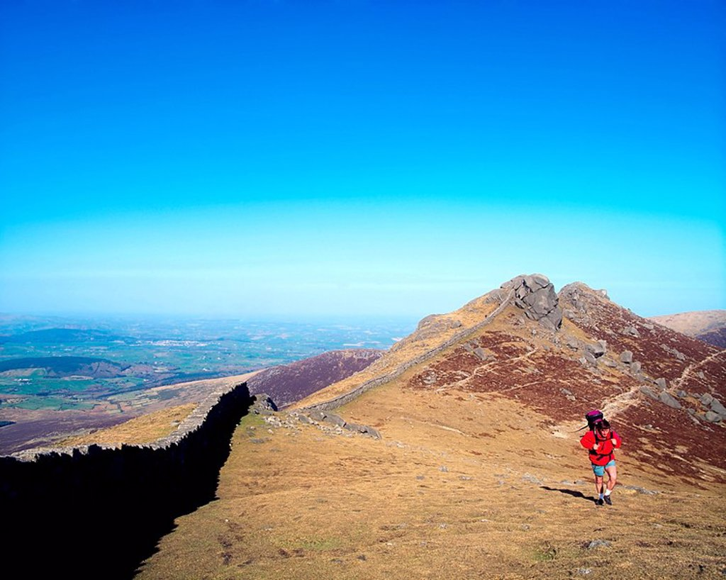 Hiking On Slieve Bearnagh, The Mourne Mountains, Co Down, Ireland : Stock Photo