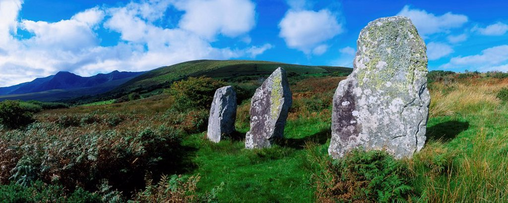 Standing Stone Alignment, Near Cloughran, Dingle Peninsula, Co Kerry, Ireland : Stock Photo