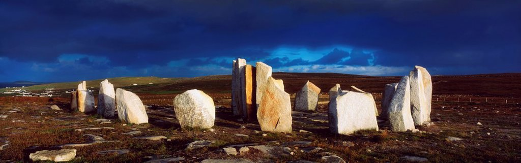 Stock Photo: 1812-12501 Standing Stones, Blacksod Point, Co Mayo, Ireland