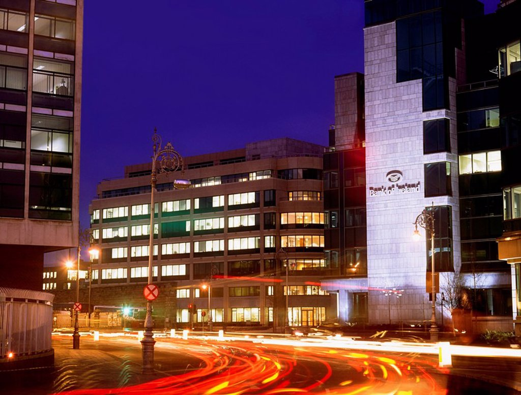 Stock Photo: 1812-12573 Dublin Modern Buildings, Bank Of Ireland At The, Financial Services Centre