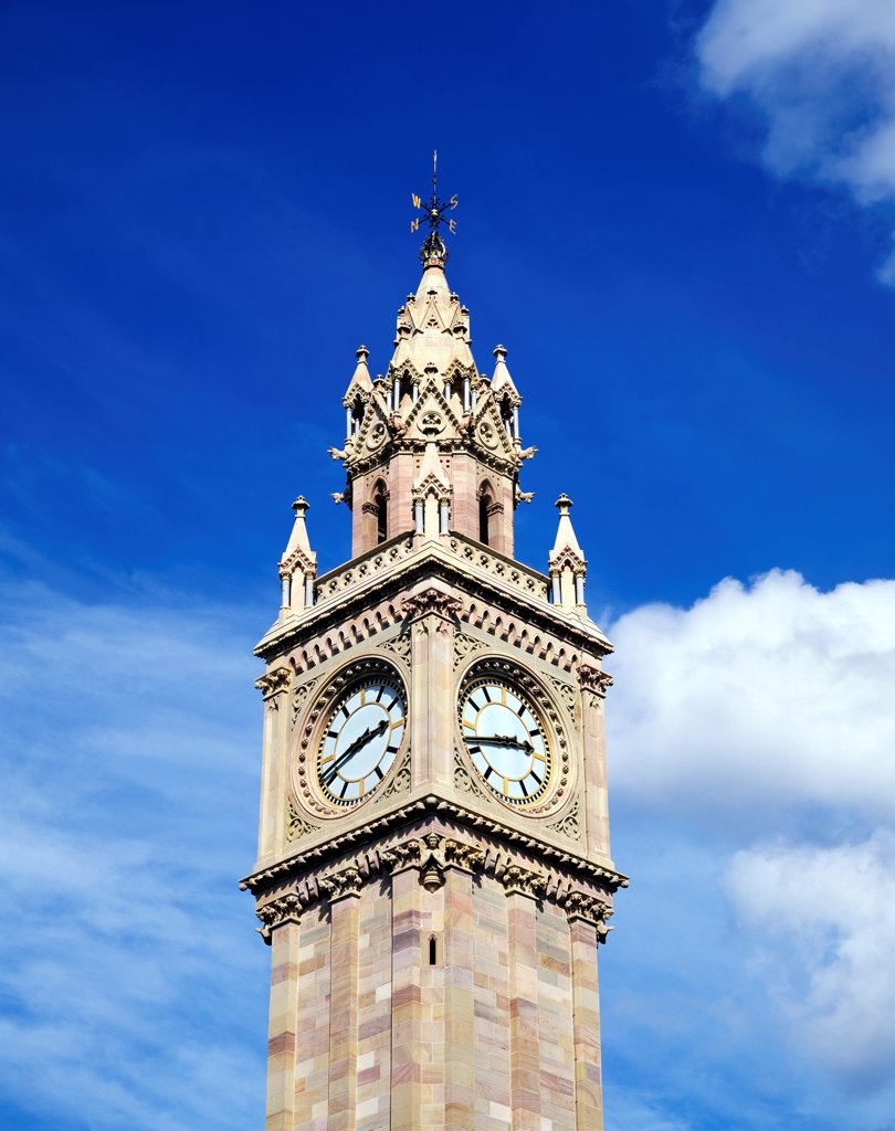 Low Angle View Of A Clock Tower, Albert Memorial Clock, Belfast, Northern Ireland : Stock Photo