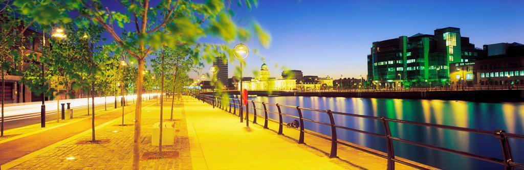 Customs House & Ifsc, River Liffey, Dublin, Ireland : Stock Photo