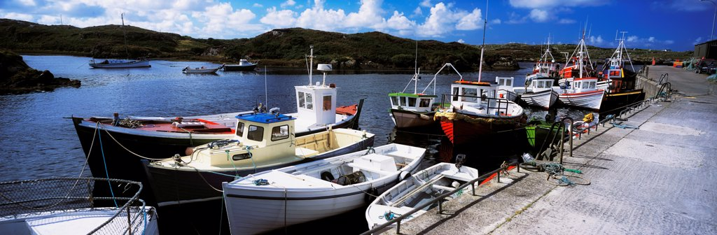 Stock Photo: 1812-15777 Bunbeg Harbour, County Donegal, Ireland; Harbour With Boats