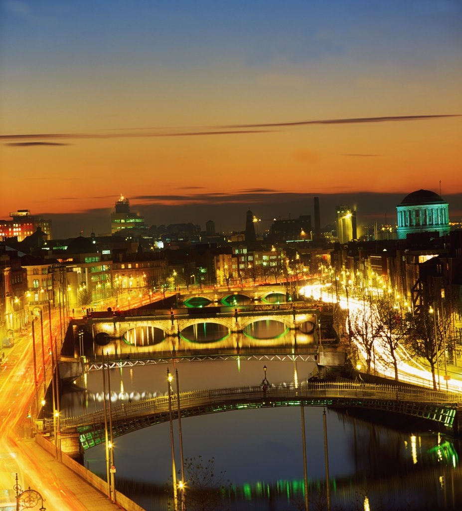 Dublin,Co Dublin,Ireland;View Of The River Liffey At Nighttime : Stock Photo