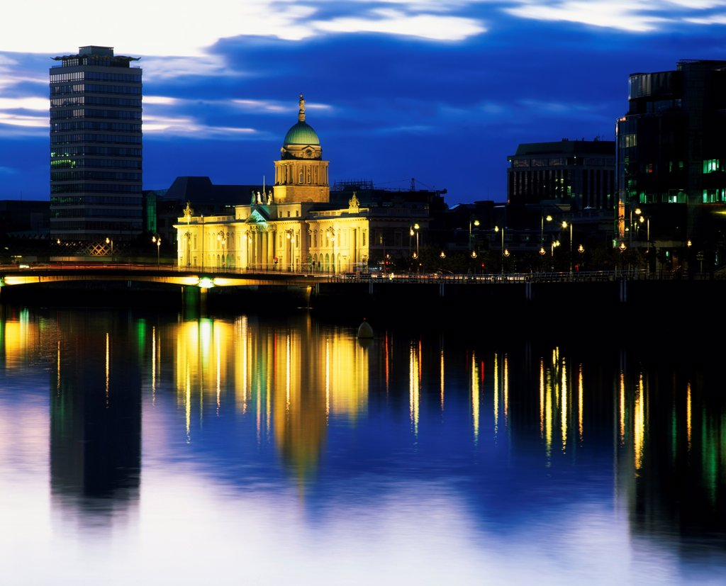 Customs House And Liberty Hall, River Liffey, Dublin, Ireland : Stock Photo