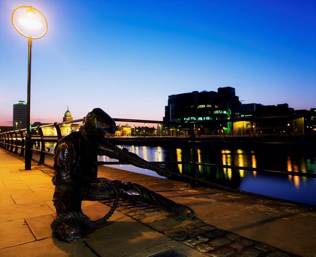 Dublin Sculpture, The Docker, City Quay, Dublin, Ireland : Stock Photo