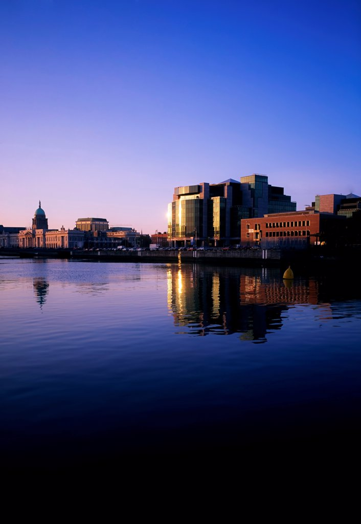 Stock Photo: 1812-15985 Financial Services Centre, And River Liffey, Dunlin, Ireland