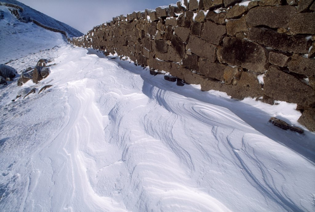 Stock Photo: 1812-16581 Mourne Wall, Mountains Of Mourne, County Down, Ireland; Stone Wall In Winter Landscape