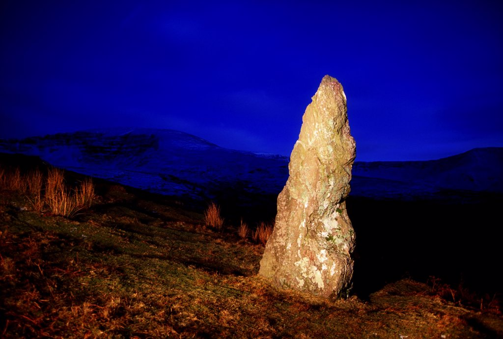 Stock Photo: 1812-16649 Nire Valley, County Waterford, Ireland; Standing Stone