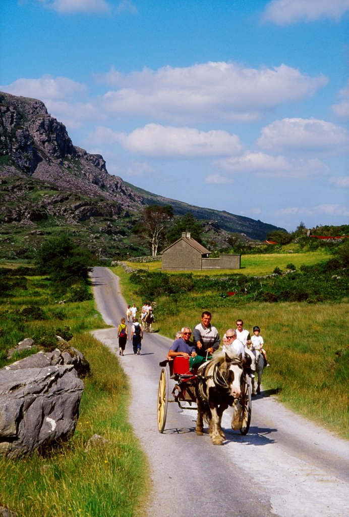 Gap Of Dunloe, Killarney National Park, County Kerry, Ireland; Horse And Buggy : Stock Photo