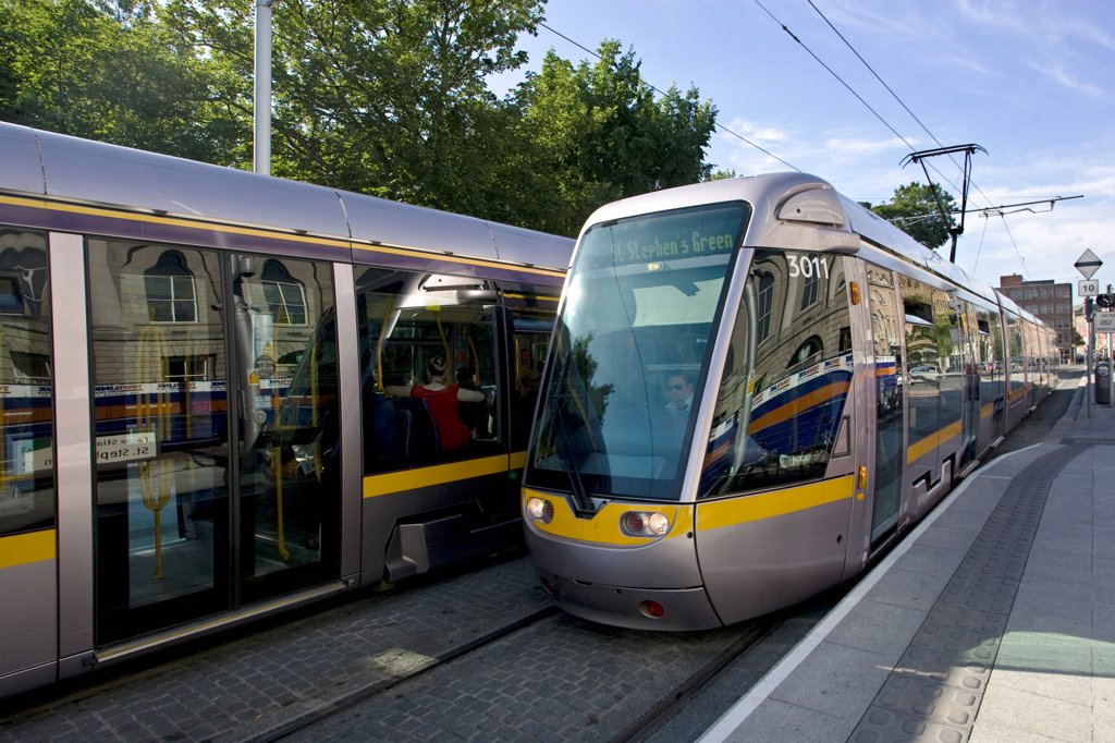 The Luas, St. Stephen's Green, Dublin City, Ireland; Dublin Light Rail System : Stock Photo