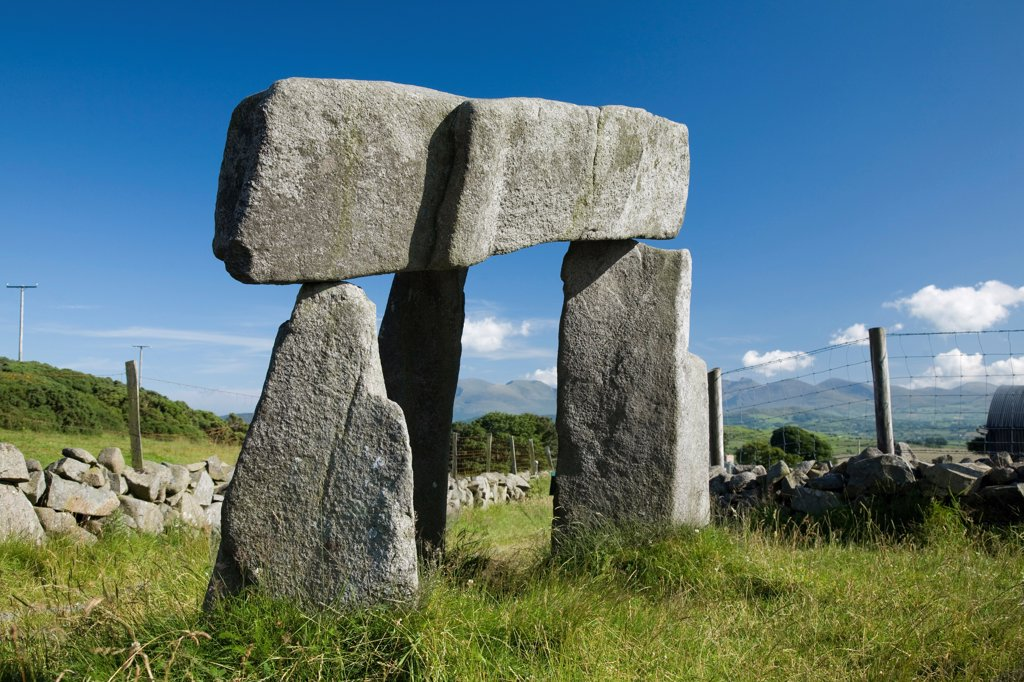 Stock Photo: 1812-18279 Legananny Dolmen, Co Down, Northern Ireland; Megalithic Tomb
