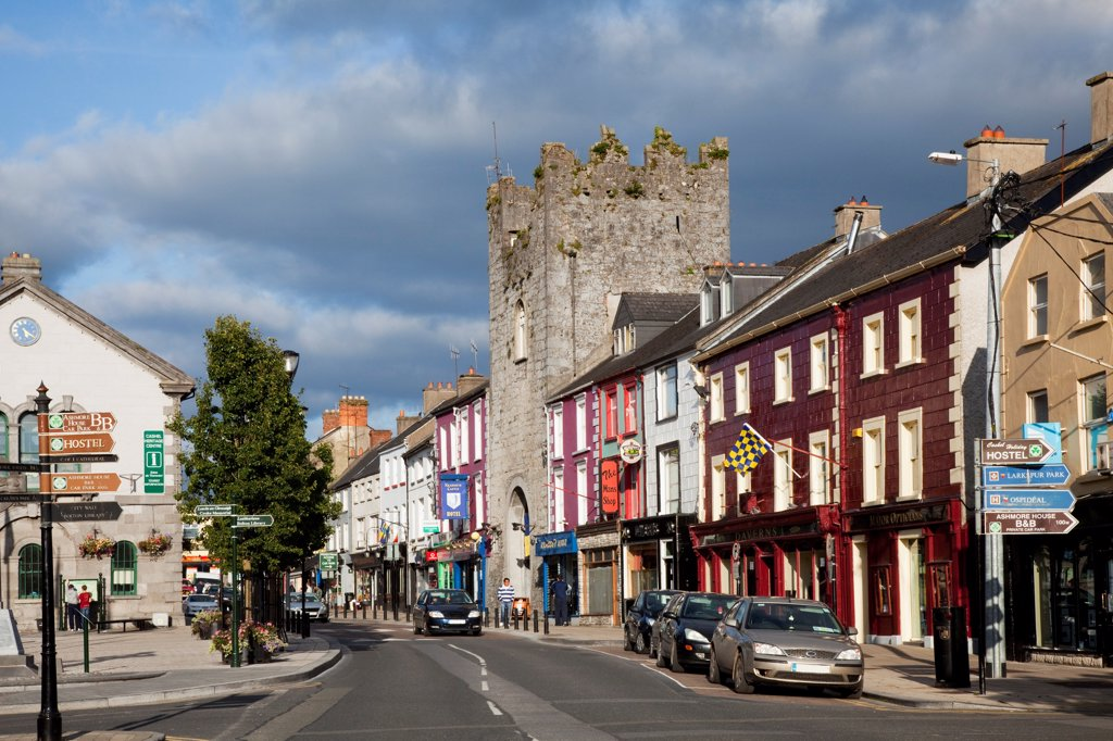 Stock Photo: 1812-19039 Cars And Buildings Lining A Street; Cashel, County Tipperary, Ireland