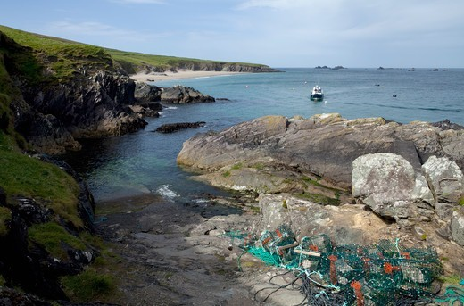 Stock Photo: 1812-19370 Lobster Pots On Great Blasket Island The Blasket Islands Off Slea Head; Dingle Peninsula County Kerry Ireland