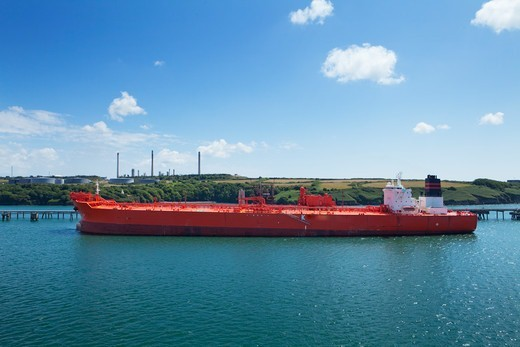 South Hook Lng Terminal; Milford Haven Pembrokeshire South Wales : Stock Photo