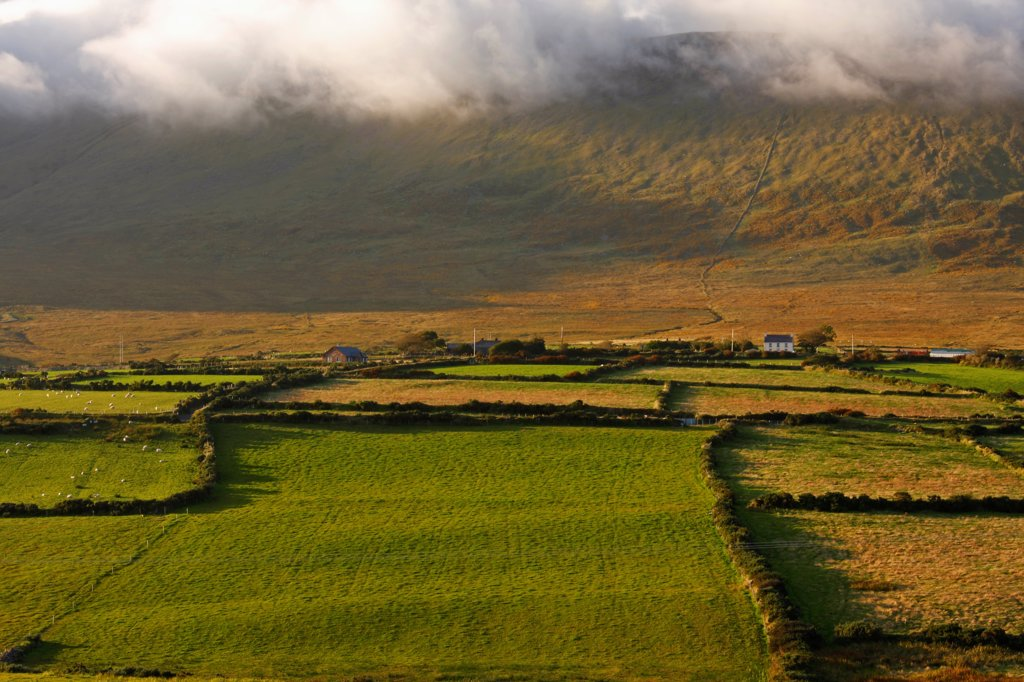 Mist Covered Mountains Around Lispole On The Dingle Peninsula; County Kerry Ireland : Stock Photo